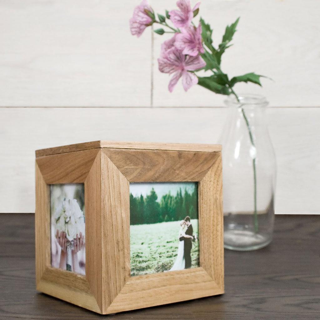 Oak Photo Cube Personalised with Name - Oh My Gift