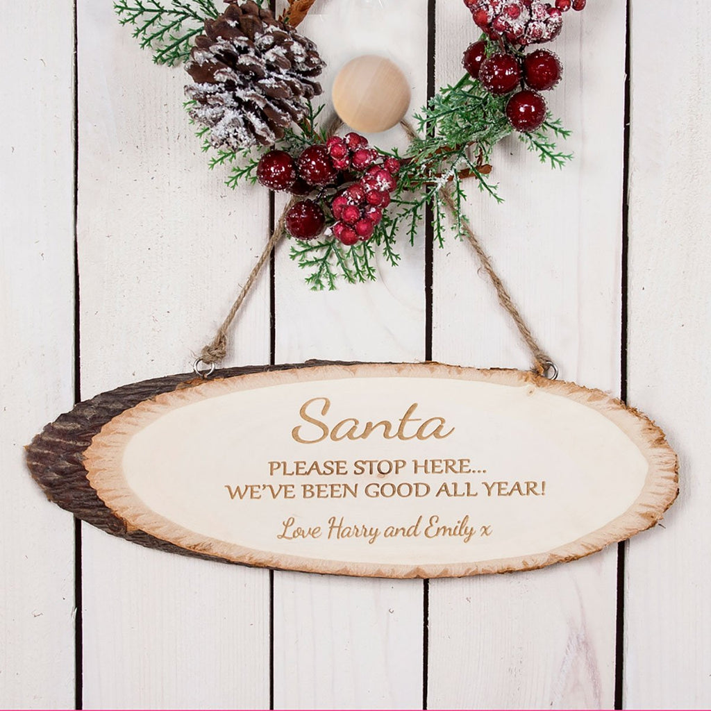 Santa Please Stop Here Wooden Sign Personalised with Children's Names - Oh My Gift