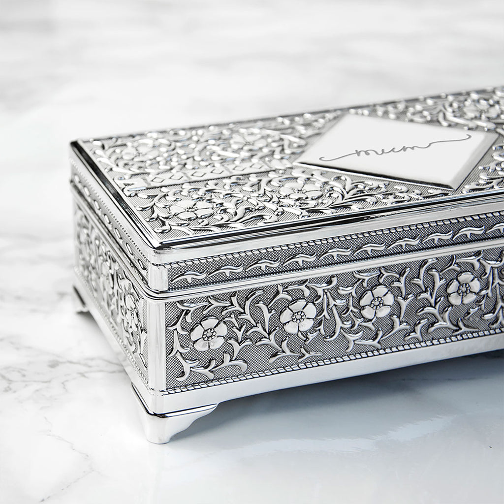 Personalised Silver Trinket Box Showing Ornate detailing - Oh My Gift