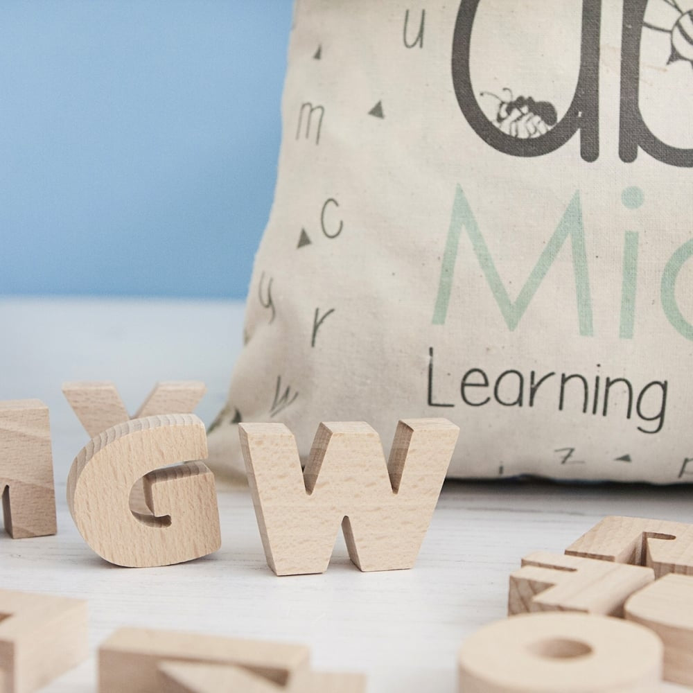 Personalised Wooden Alphabet Bag - Perfect Gift for Toddlers - Oh My Gift
