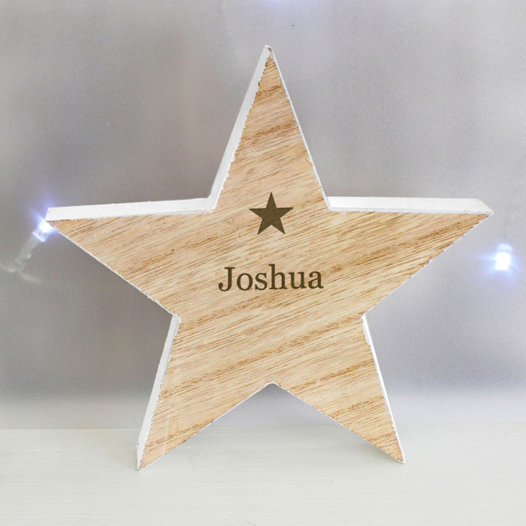 Wooden Star Christmas Decoration Personalised with Child's Name - Oh My Gift