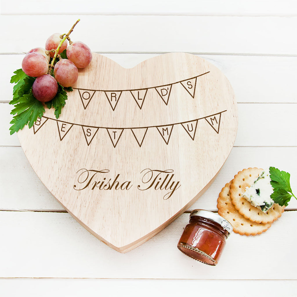 Personalised World's Best Mum Heart Cheese Board - Oh My Gift