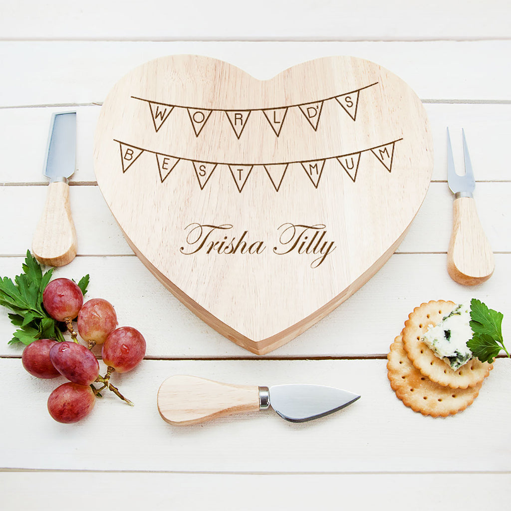 Personalised World's Best Mum Heart Cheese Board Showing Engraving - Oh My Gift