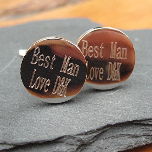 Silver Plate Batang Round Cufflinks for Your Best Man - Oh My Gift