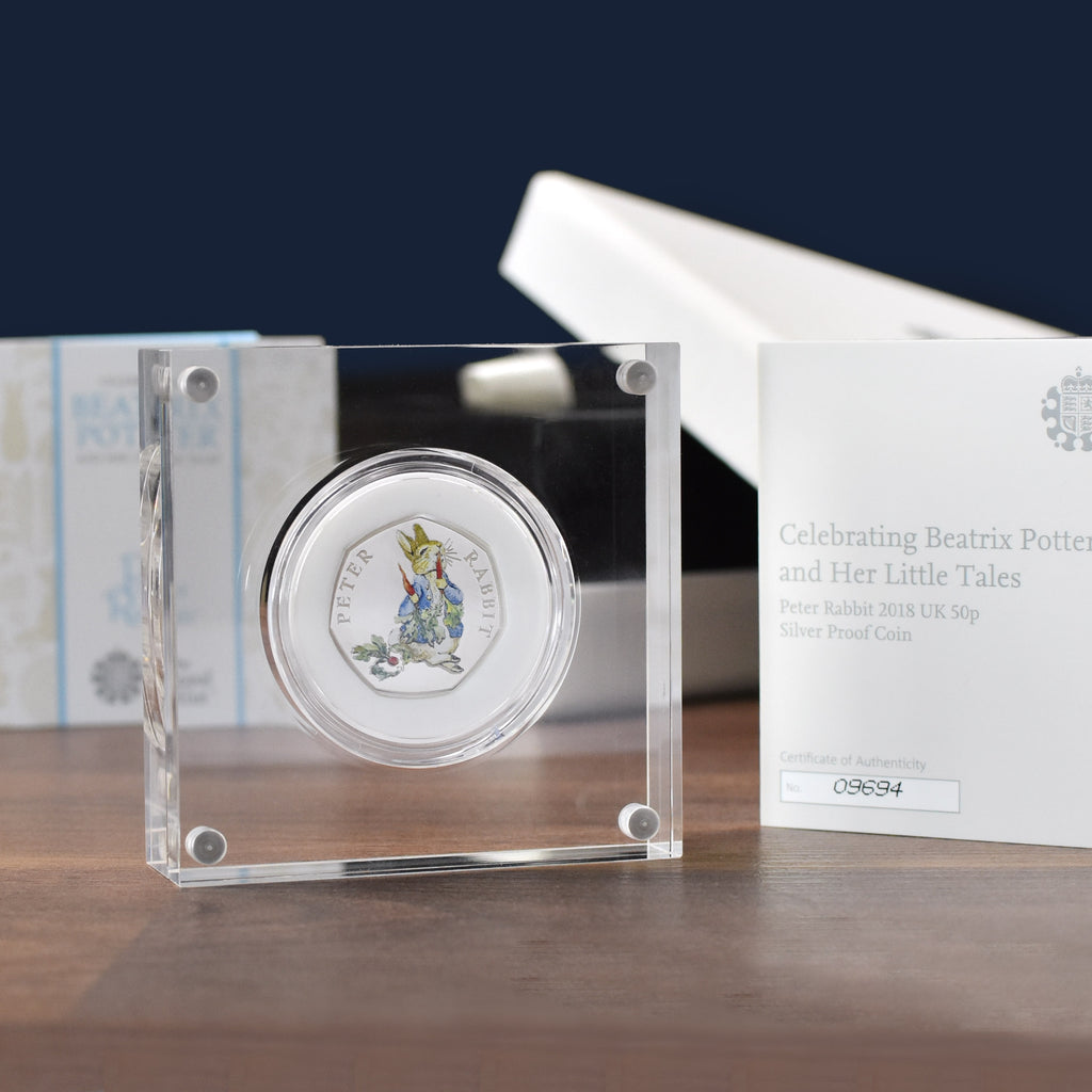 Silver Proof Peter Rabbit 50p in a deluxe personalised gift box - Oh My Gift