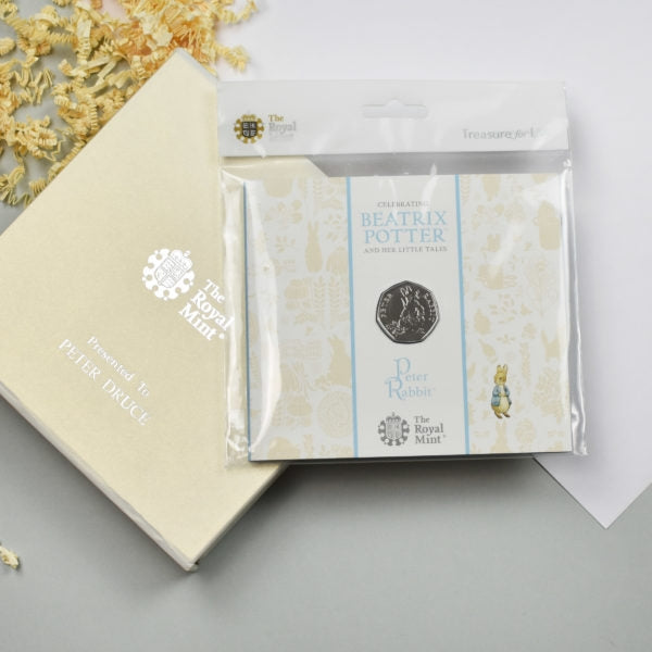 Uncirculated Peter Rabbit 50p in a personalised gift box - Oh My Gift