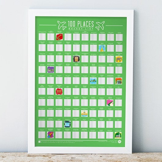 100 Places to Visit Bucket List Scratch Poster - Oh My Gift