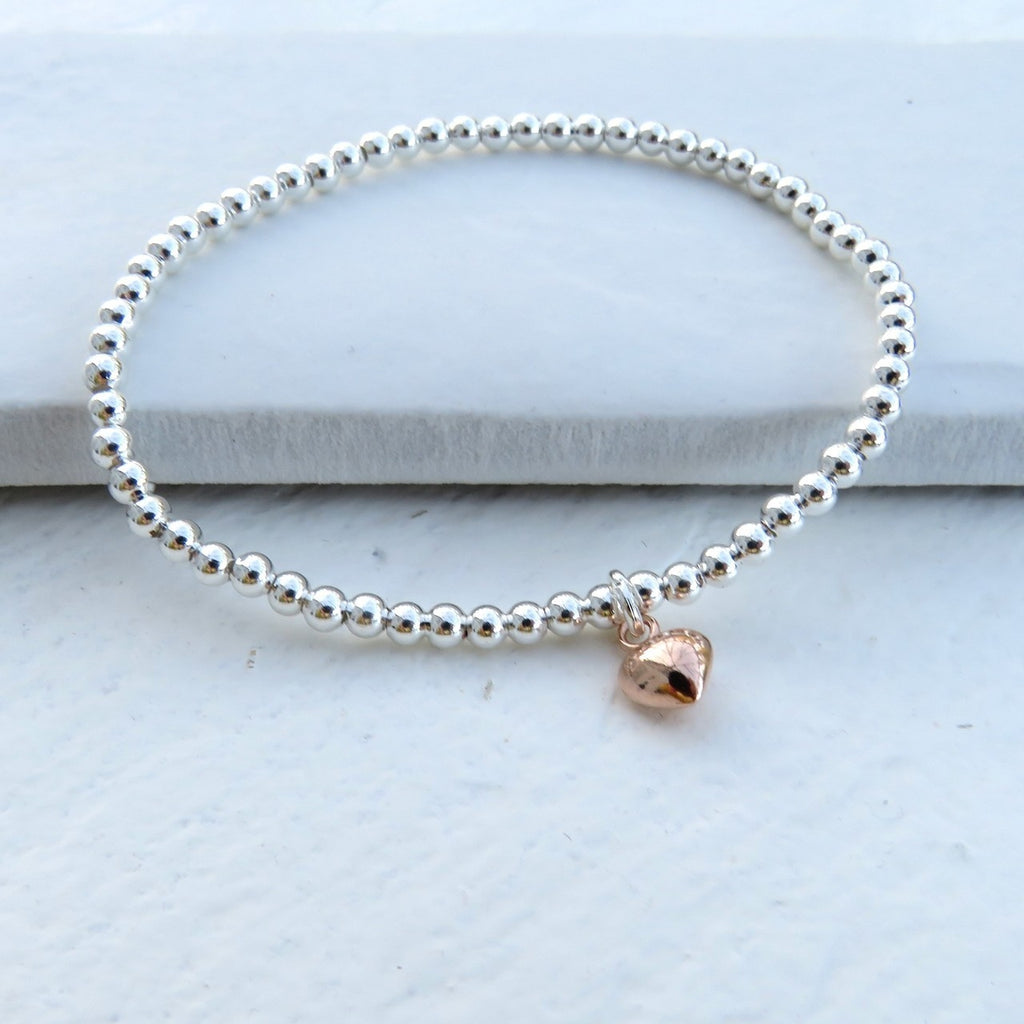 Silver Stacking Ball Bracelet - Rose Gold Mini Heart - Oh My Gift