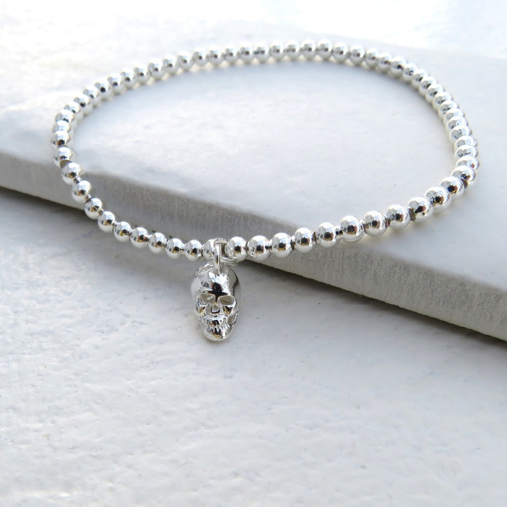 Silver Mini Ball Bracelet with Mini Skull charm - Oh My Gift