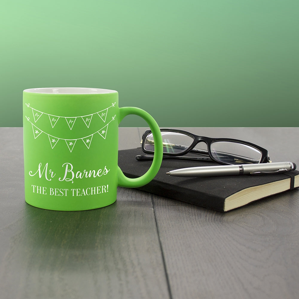 Personalised Best Teacher Mug in Green - Oh My Gift
