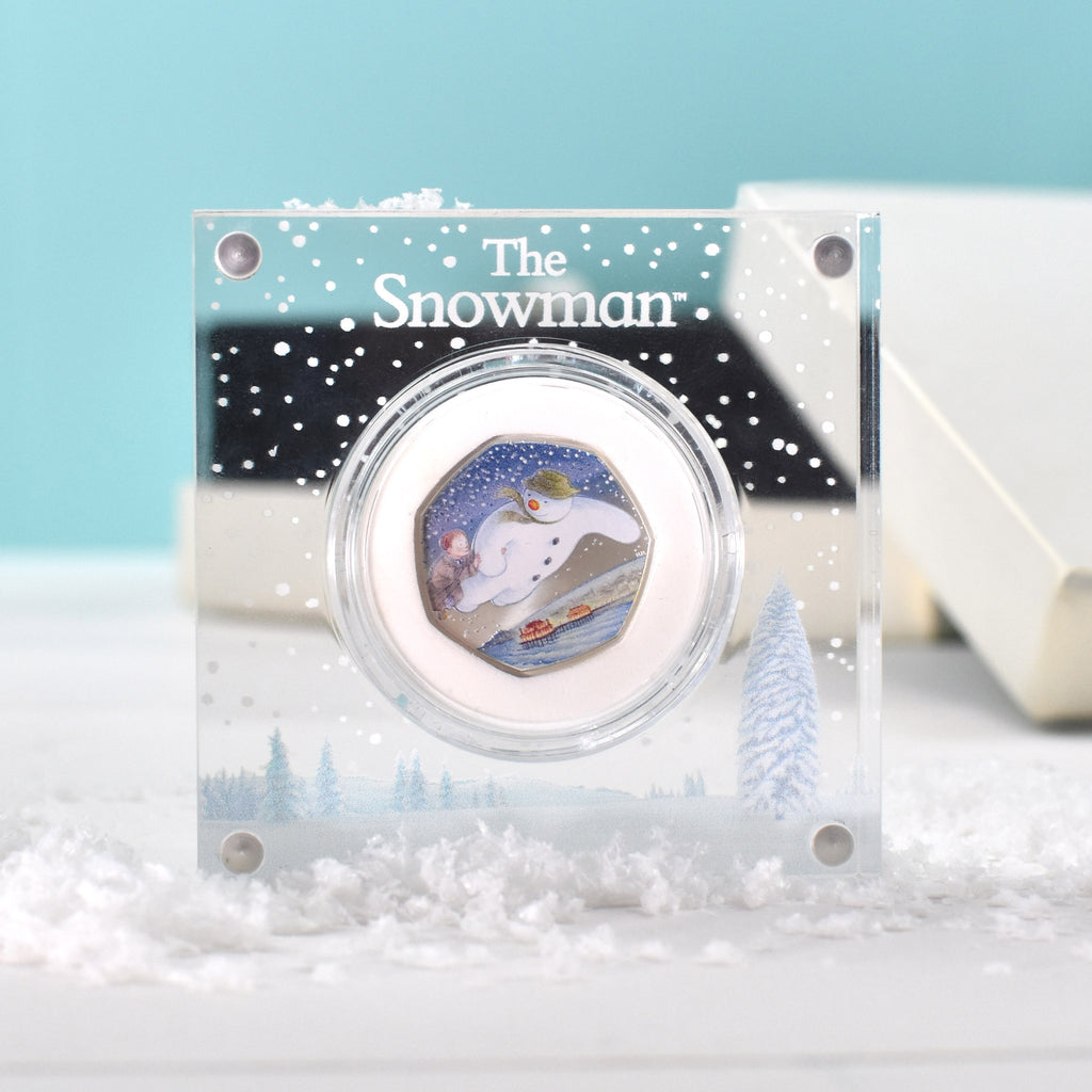 Silver Proof Snowman 50p Royal Mint Coin in a Deluxe Personalised Gift Box - Oh My Gift