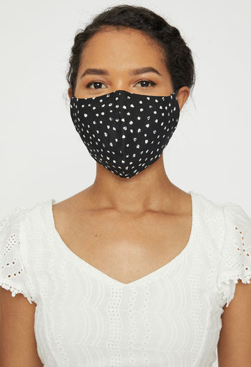 Adjustable Adult Face Mask - Black Dots