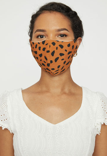 Adjustable Adult Face Mask - Brown Animal