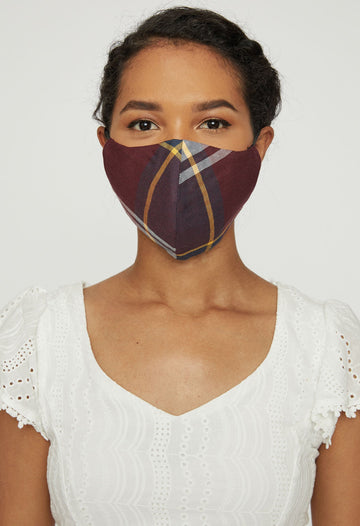 Adjustable Adult Face Mask - Burgundy Plaid