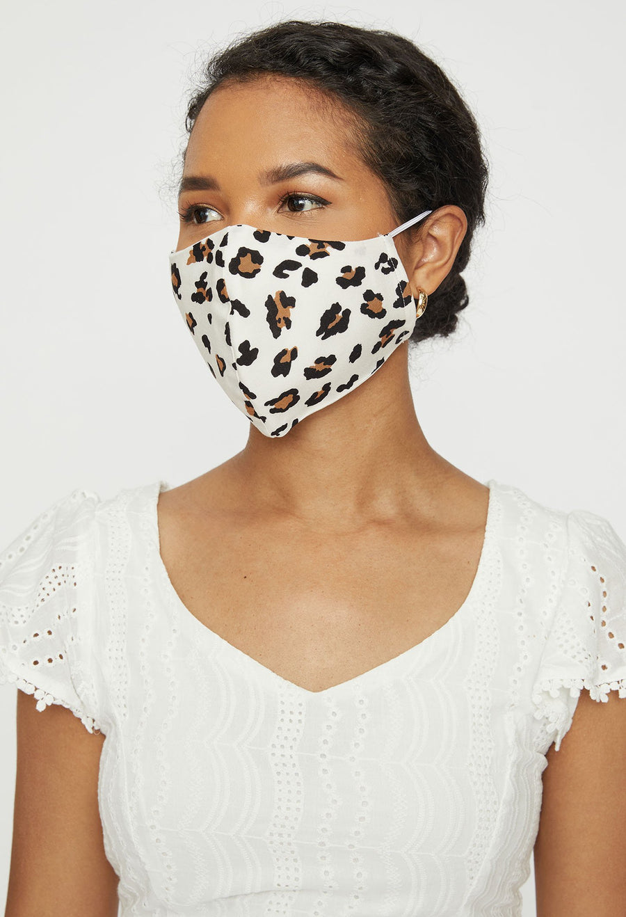 Adjustable Adult Face Mask - White Animal Print