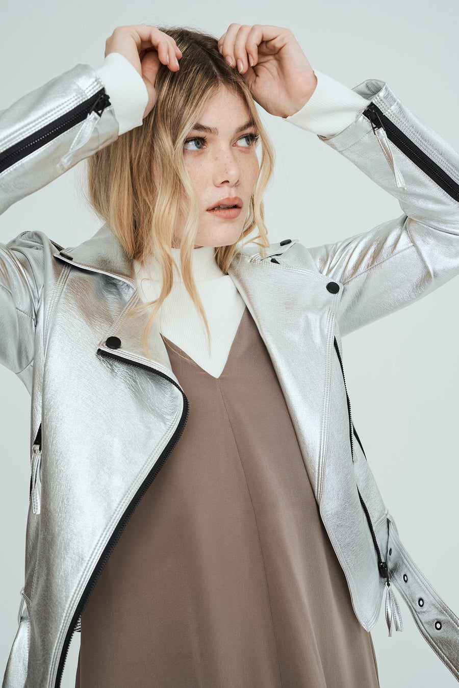 Luxe Vegan Leather Biker Jacket - Silver Metallic