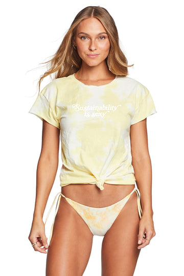 Sustainability is Sexy Tee - Yellow Organic Tie Dye
