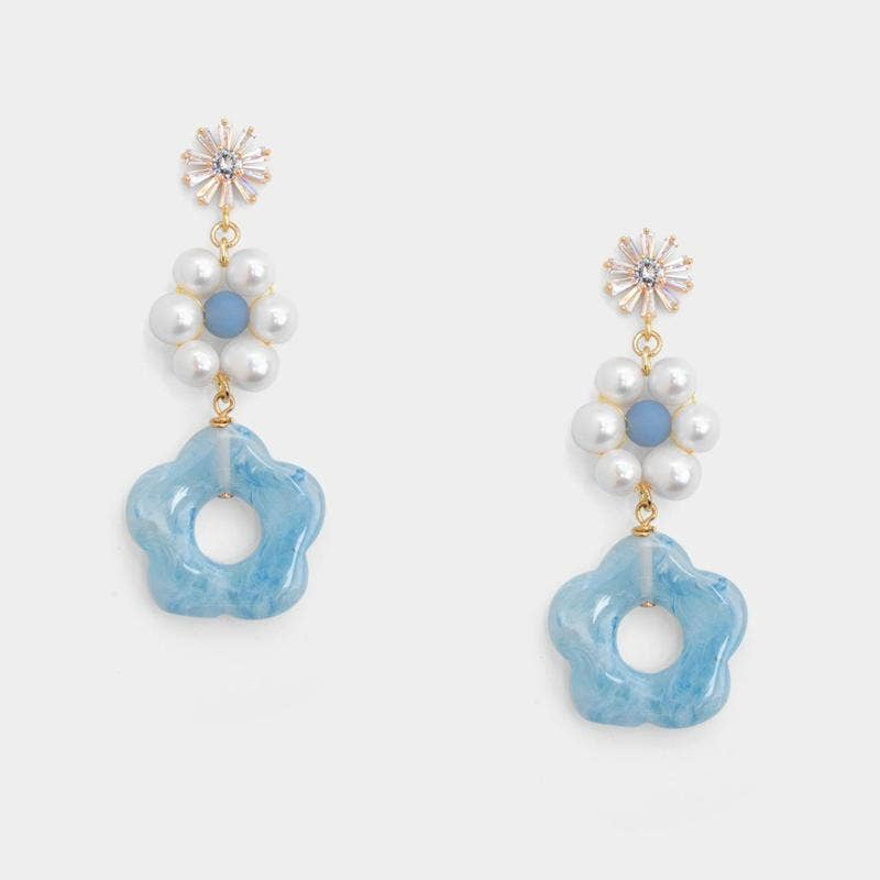 Bethany Twins Floral Earrings - Blue