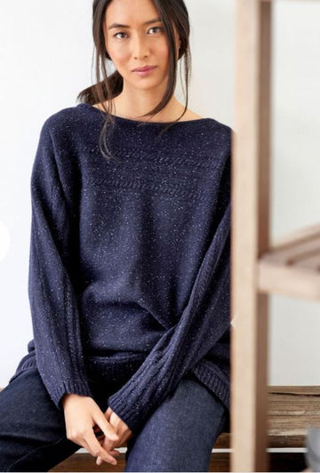 Chayna Cable Knit Recycled Wool Sweater - Midnight Navy
