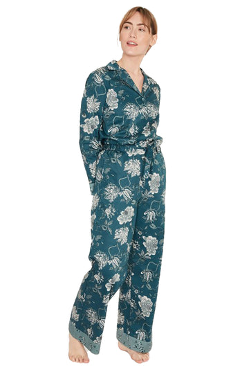Ellis Organic Cotton Printed Pajama Trousers - Teal Blue