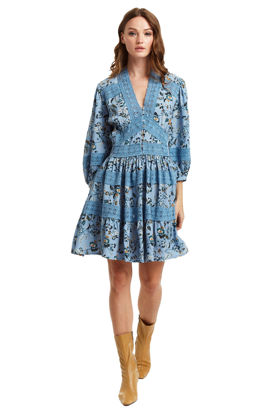 Reims Dress - Light Blue Floral