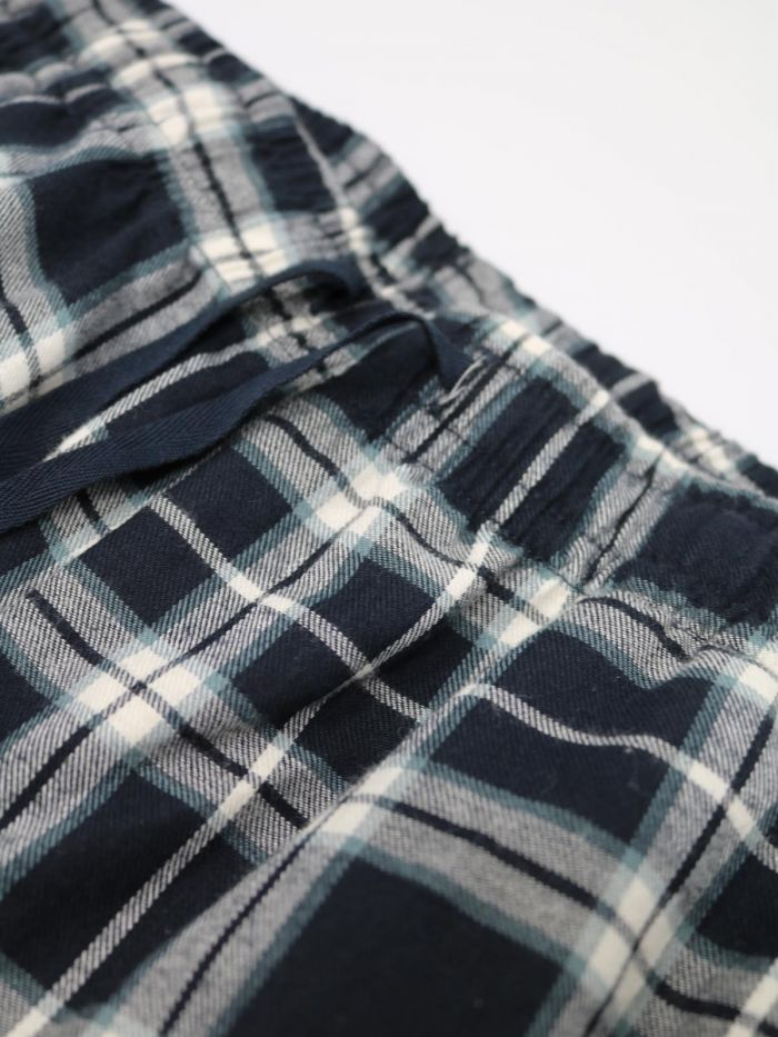 Tehran Organic Cotton Pajama Trousers - Midnight Navy Plaid