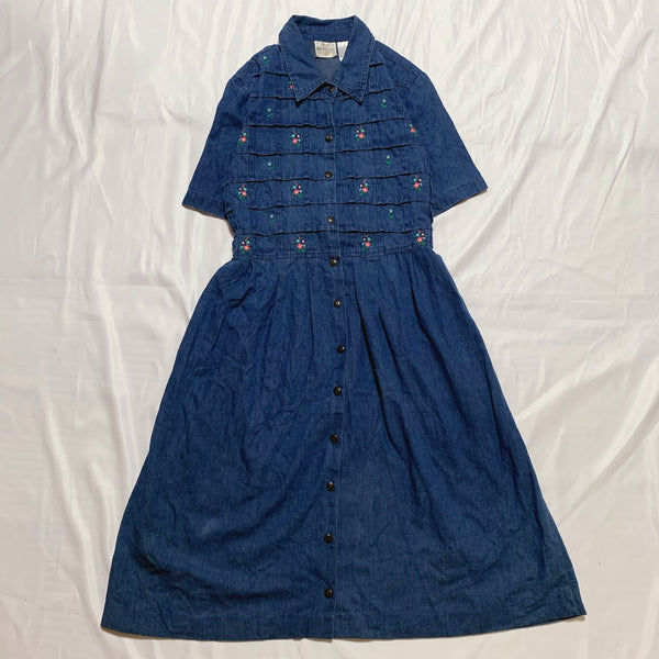 denim flower design dress