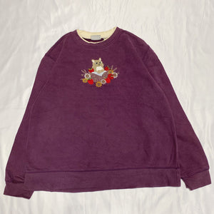 cat design purple sweatshirt