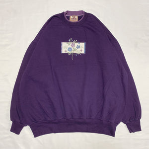purple flower design sweatshirt