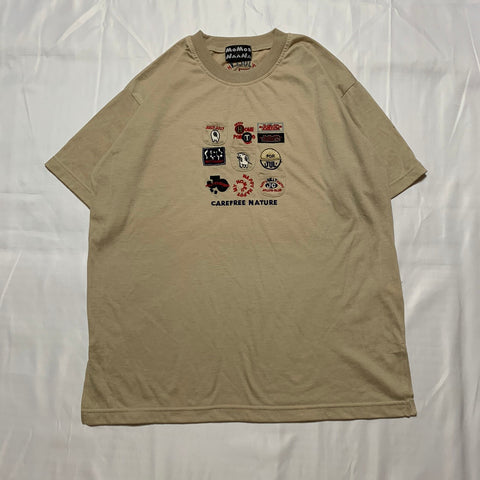 beige country design T-shirt