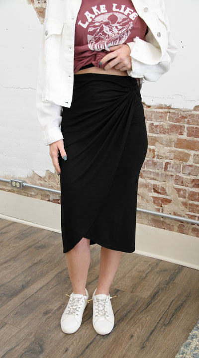 Reese Black Midi Skirt