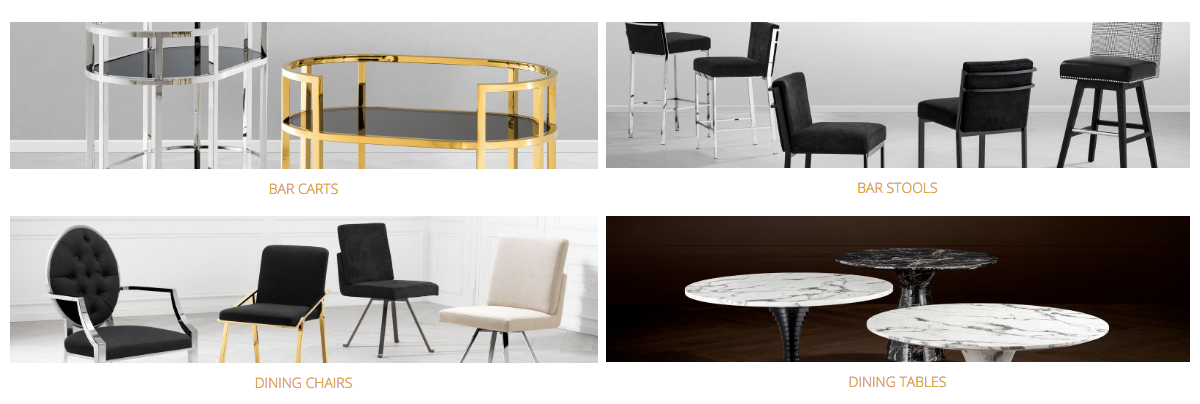 Eichholtz Dining Collections | Dining Tables | Dining Chairs | Bar carts | OROA - Modern Luxury Furniture