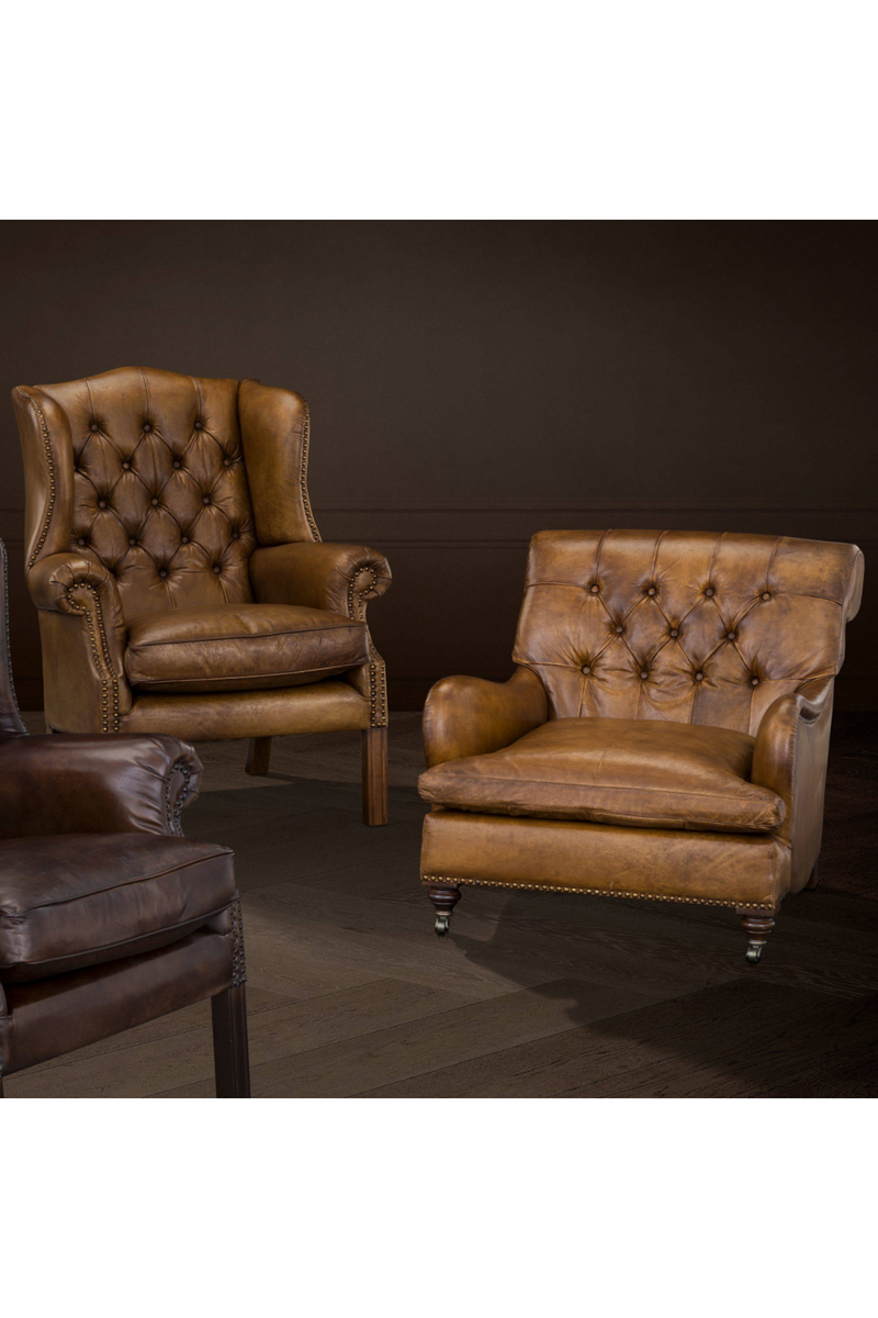 Tufted Leather Club Stol | Eichholtz Caledonian