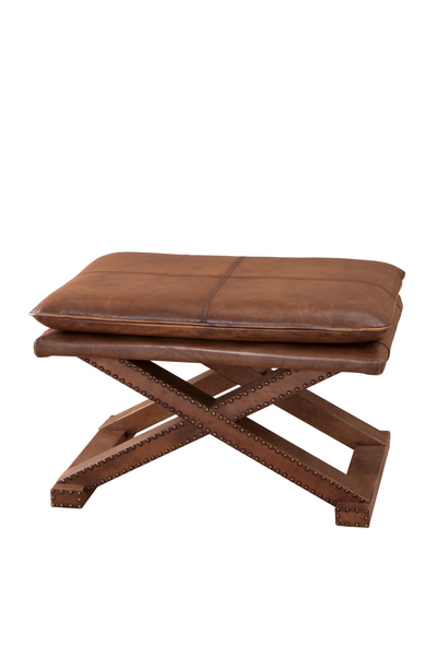 Tobacco Leather X-Leg Stool | Eichholtz Brookfield | #1 Eichholtz Retailer