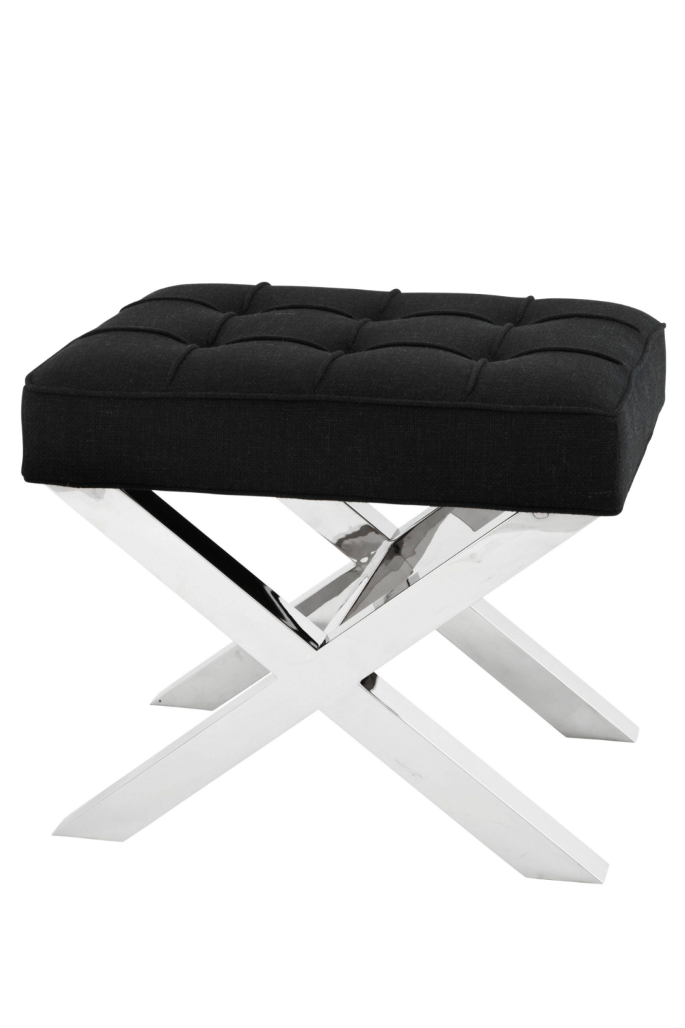 Black Tufted X-Leg Stool | Eichholtz Beekman Place