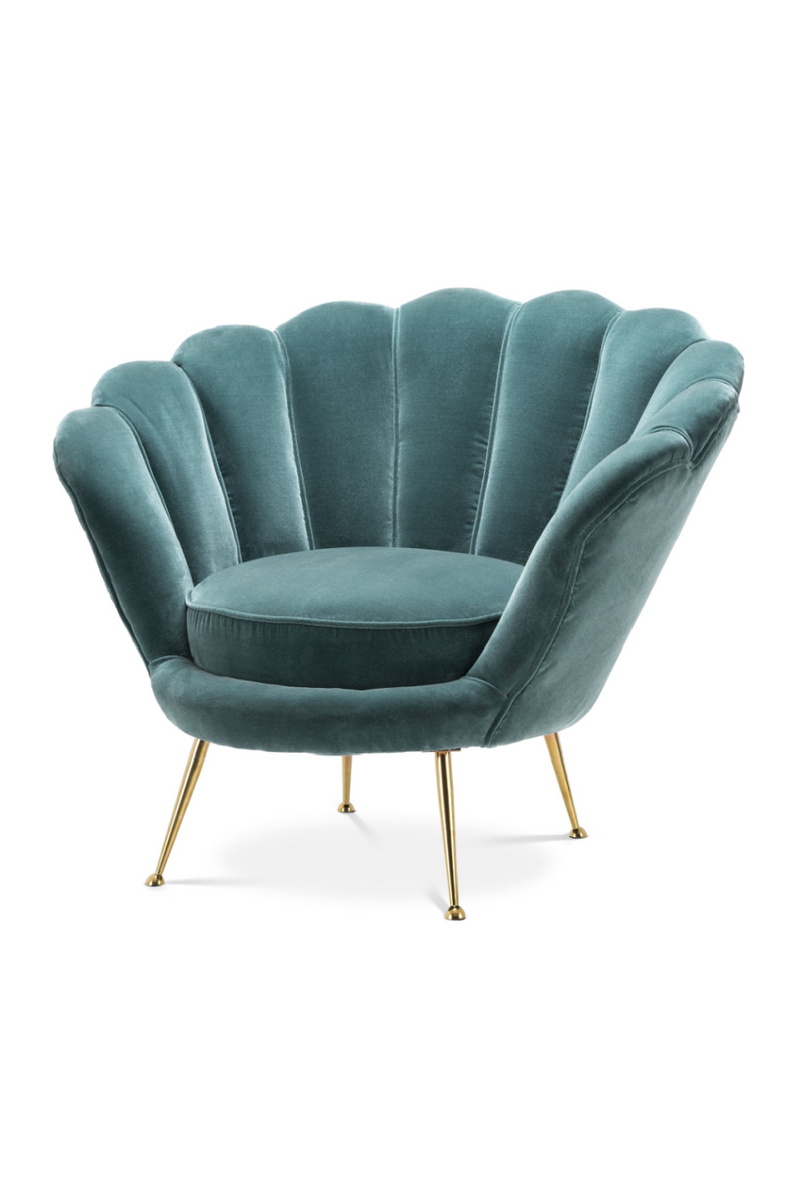 Blue Upholstered Scalloped Accent Chair - Eichholtz Trapezium | OROA