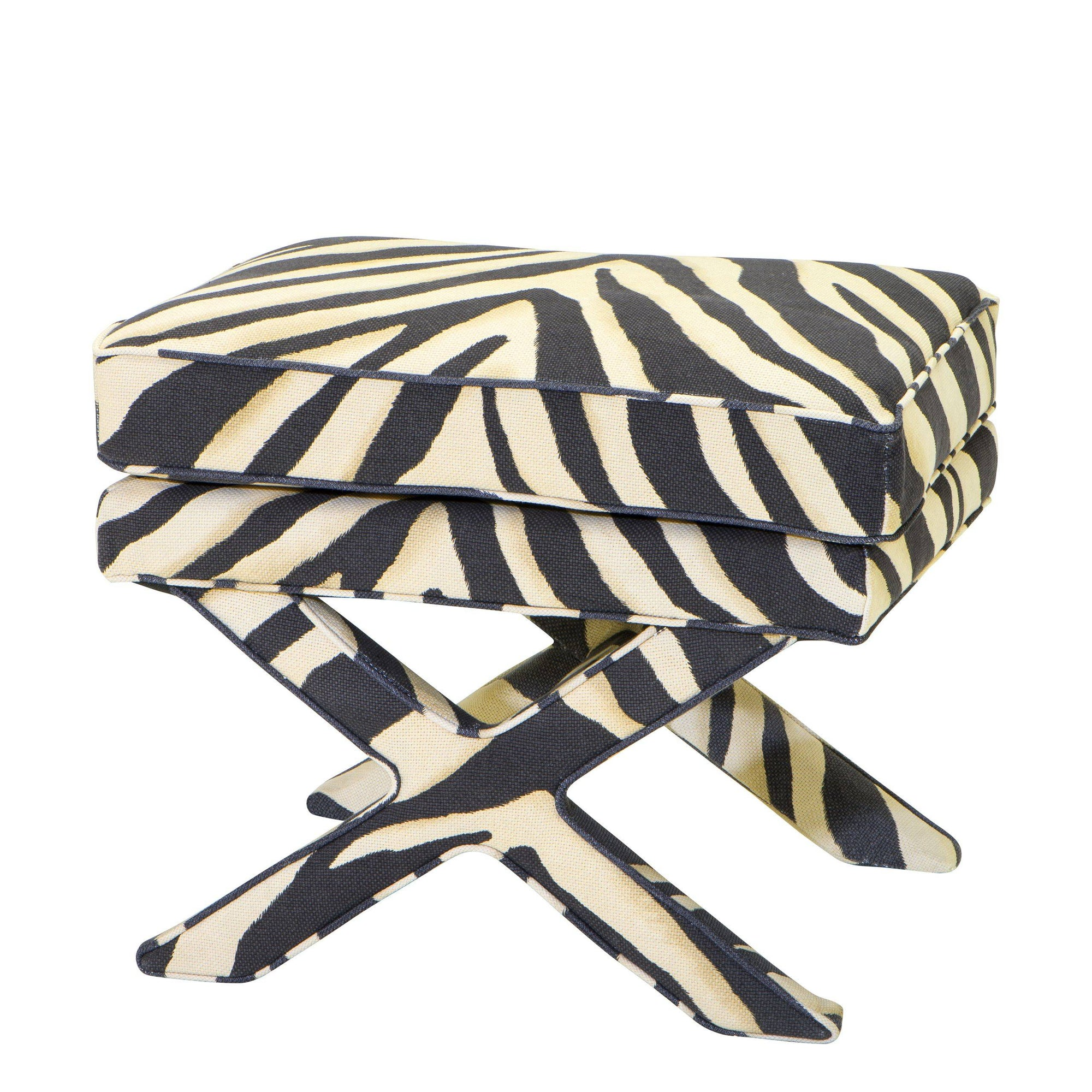 Zebra Print X-Leg Stool | Eichholtz Cordoba | OROA Luxury Furniture