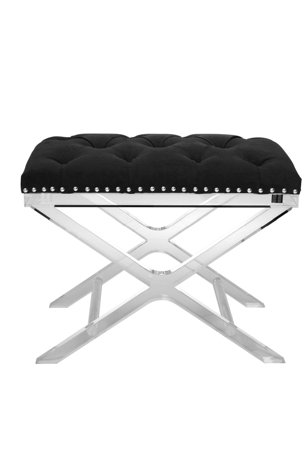 Black Button Tufted Stool | Eichholtz Bruno | #1 Eichholtz Retailer