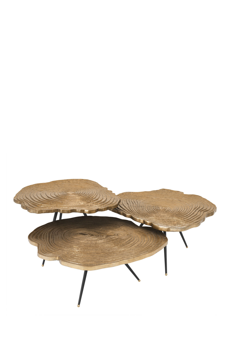 Gold Wood Slice Coffee Table Sæt | Eichholtz Quercus