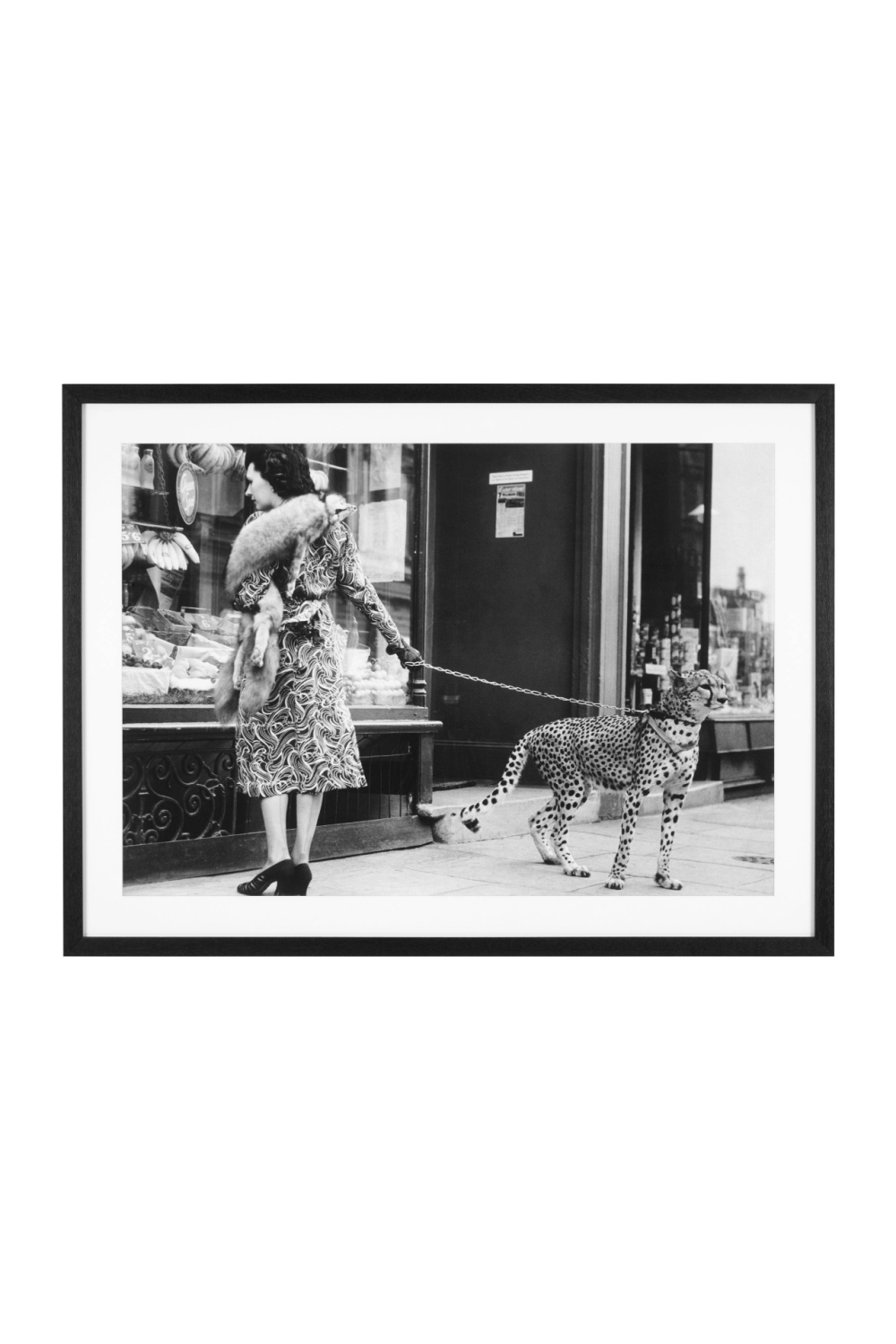 Black & White Art Print | Eichholtz Woman With Cheetah