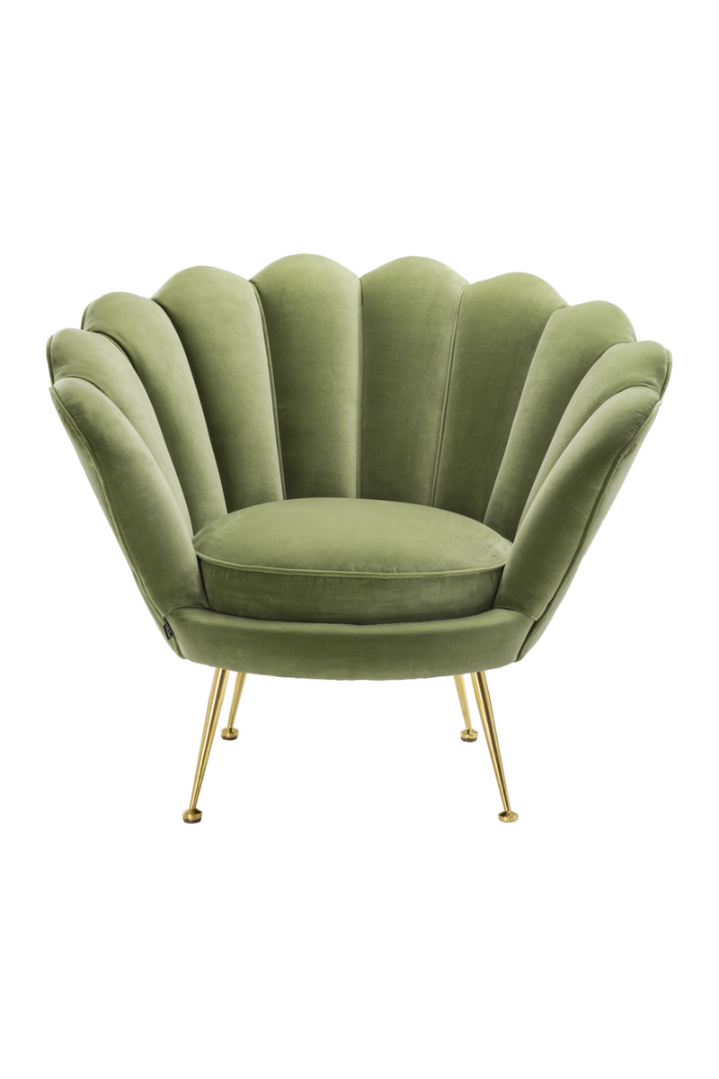 Green Scalloped Shell Shaped Accent Chair - Eichholtz Trapezium | OROA