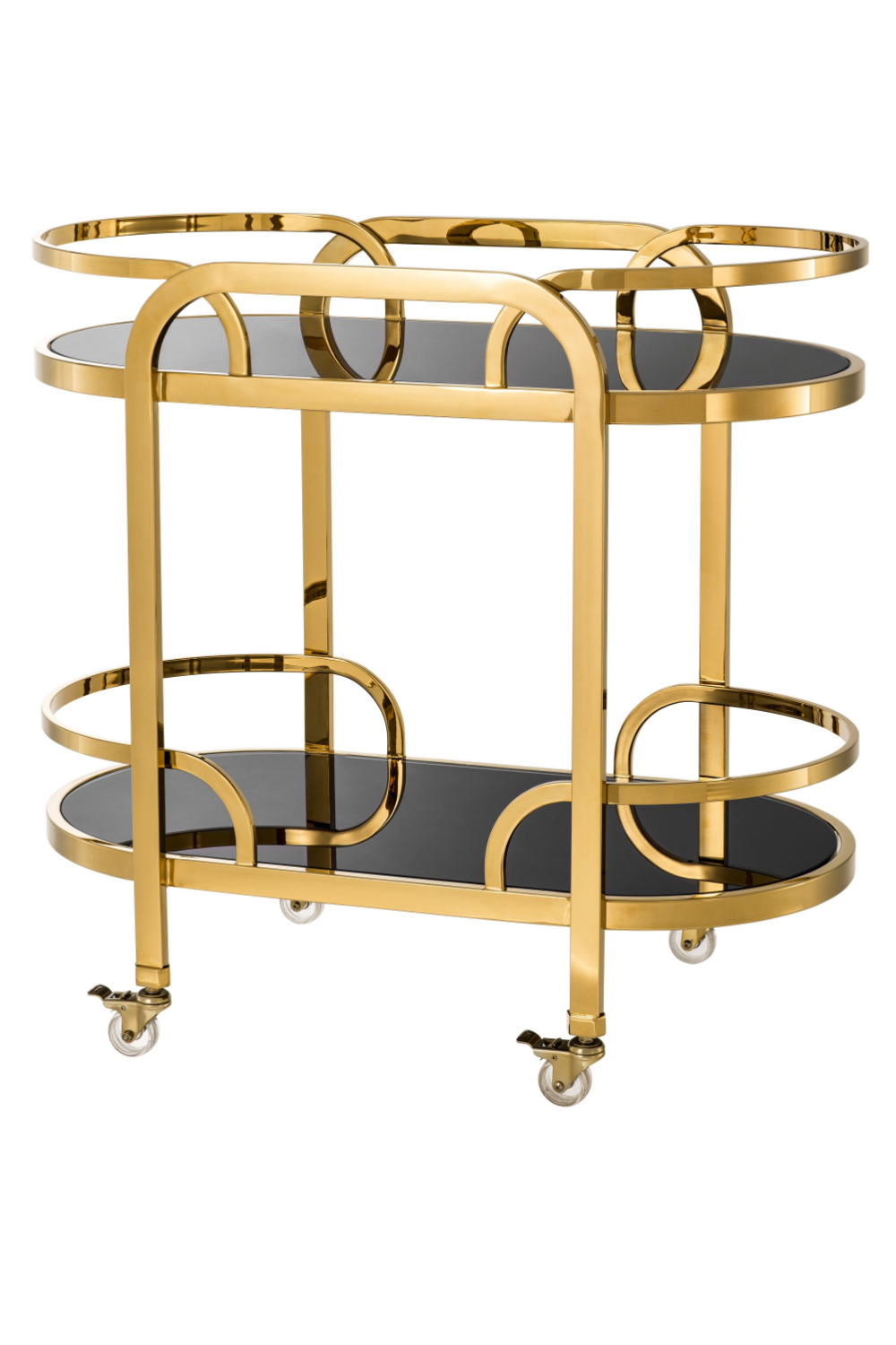 Black Glass Gold Bar Cart | Eichholtz Oakhurst | #1 Eichholtz Retailer