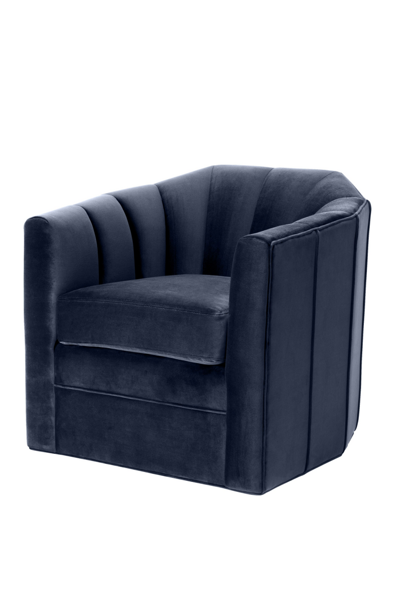 Midnight Blue Velvet Swivel Chair | Eichholtz Delancey |OROA Furniture