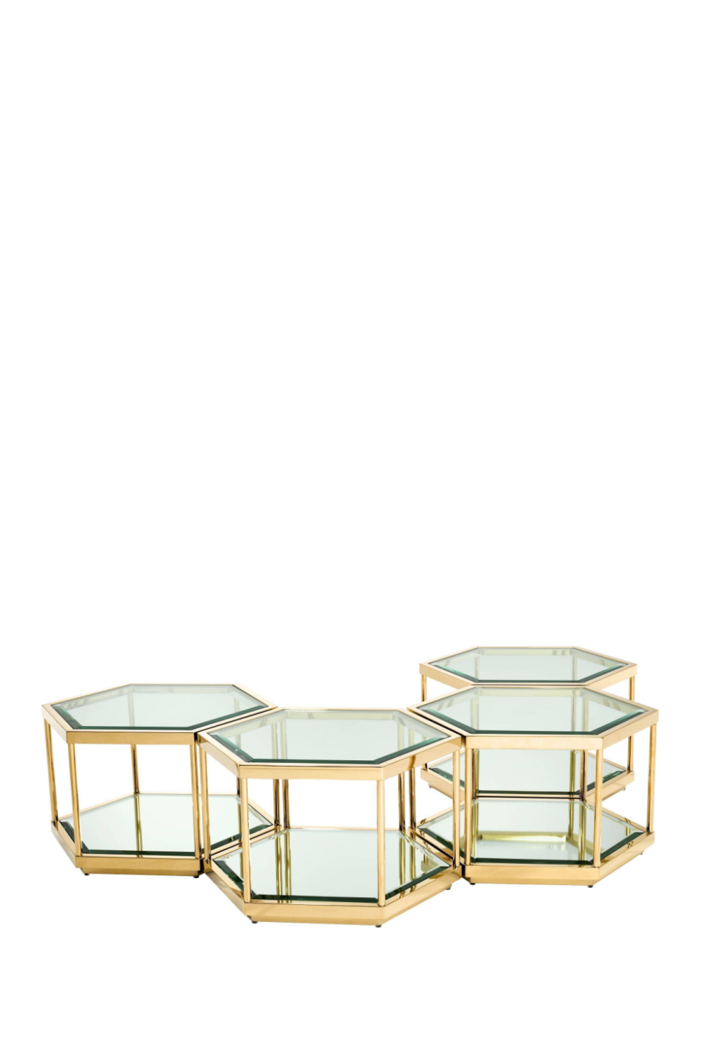 Gold Hexagonal Coffee Table Set | Eichholtz Sax