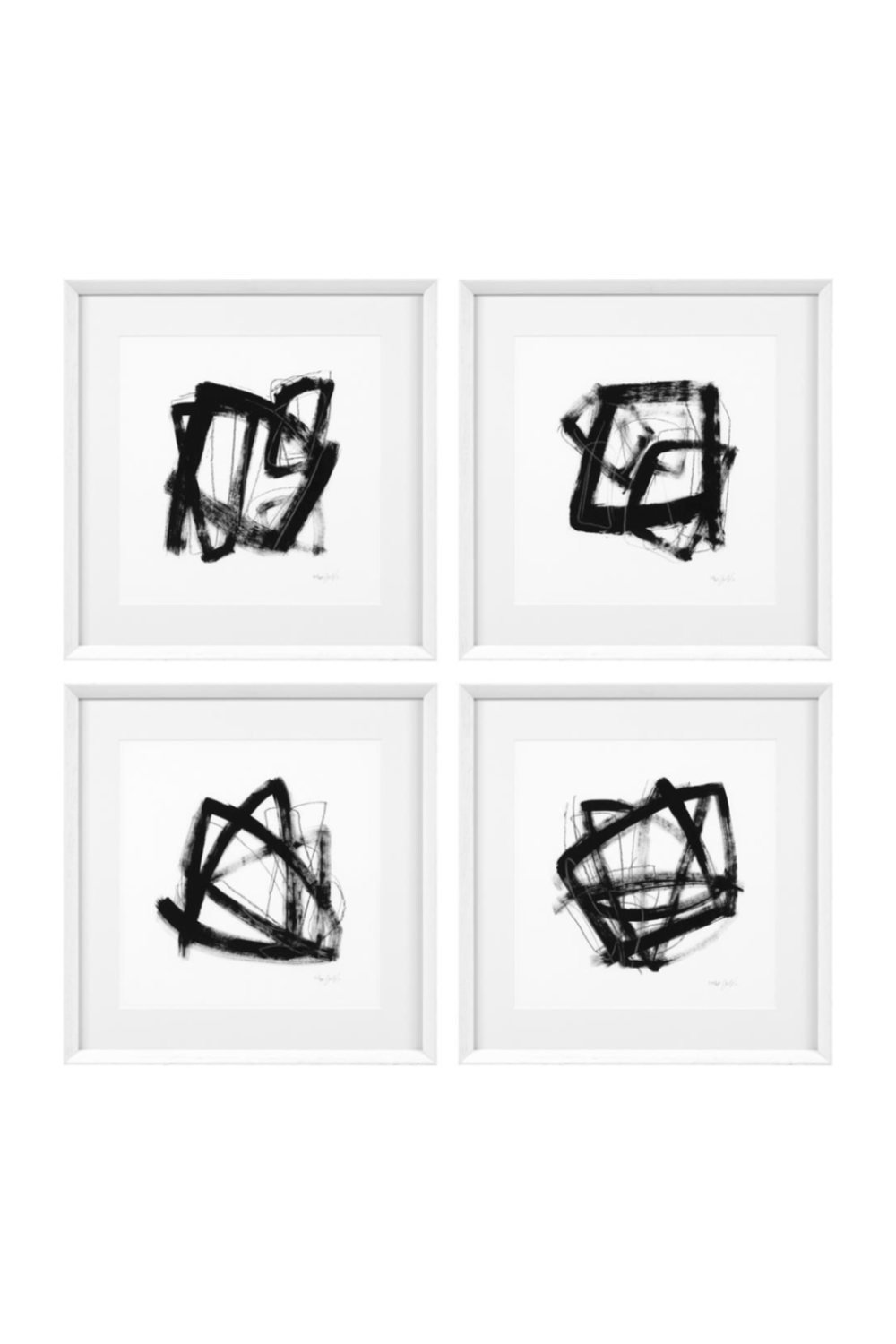 White Framed Prints | Eichholtz Tessellation 4 set | OROA