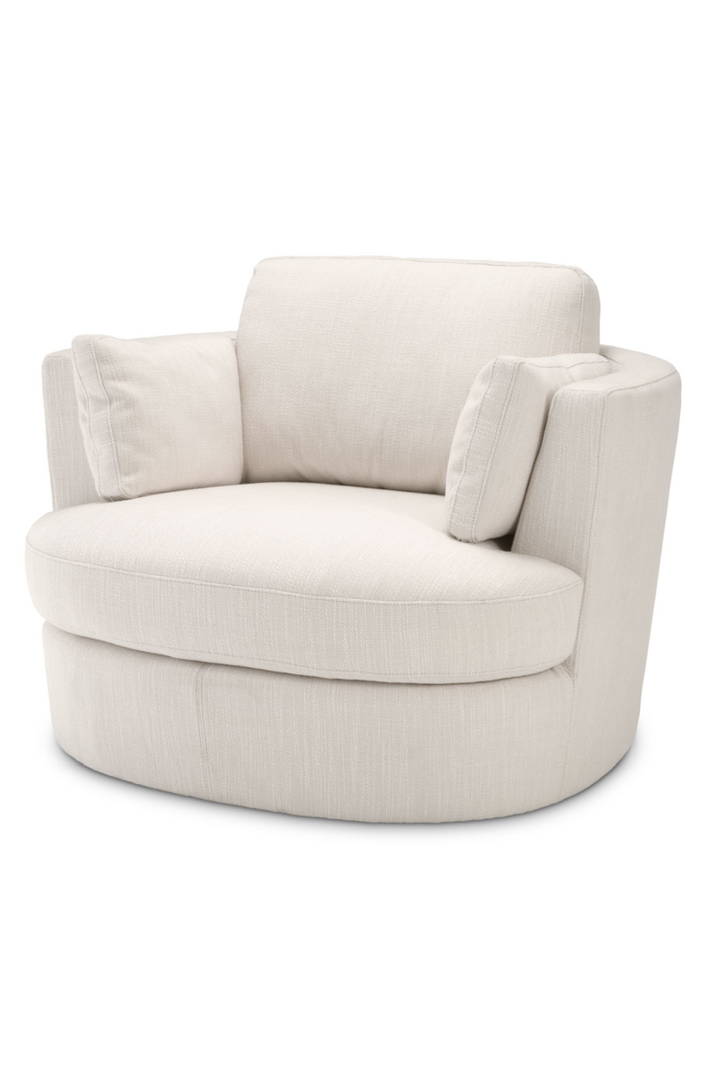 Avalon White Upholstered Beige Swivel Chair - Eichholtz Clarissa | ORO…