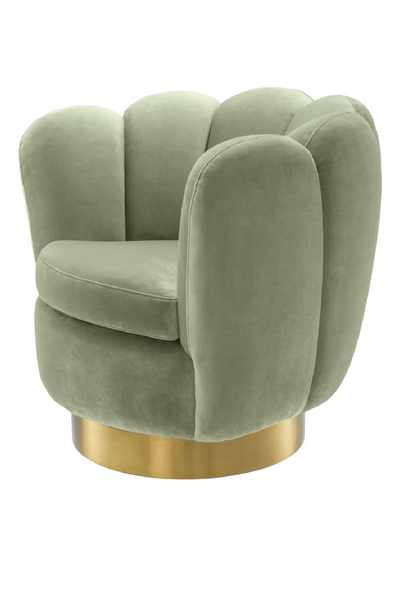 Green Scalloped Swivel Chair | Eichholtz | OROA Luxury Furniture