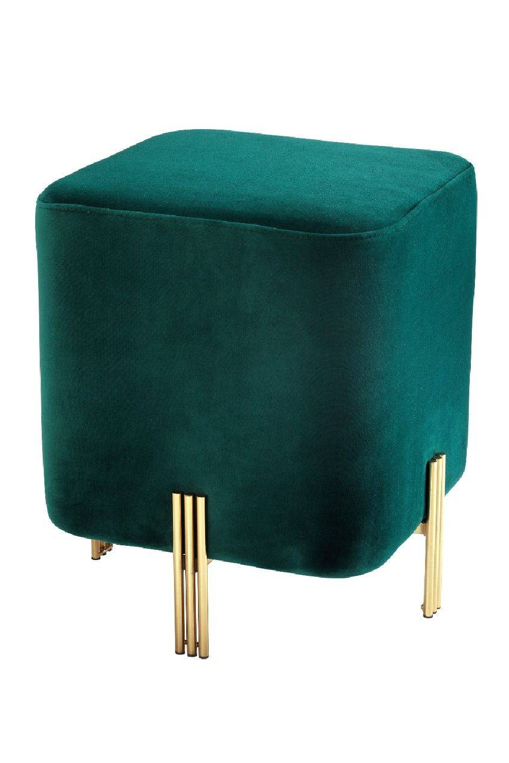 Dark Green Velvet Stool | Eichholtz Burnett