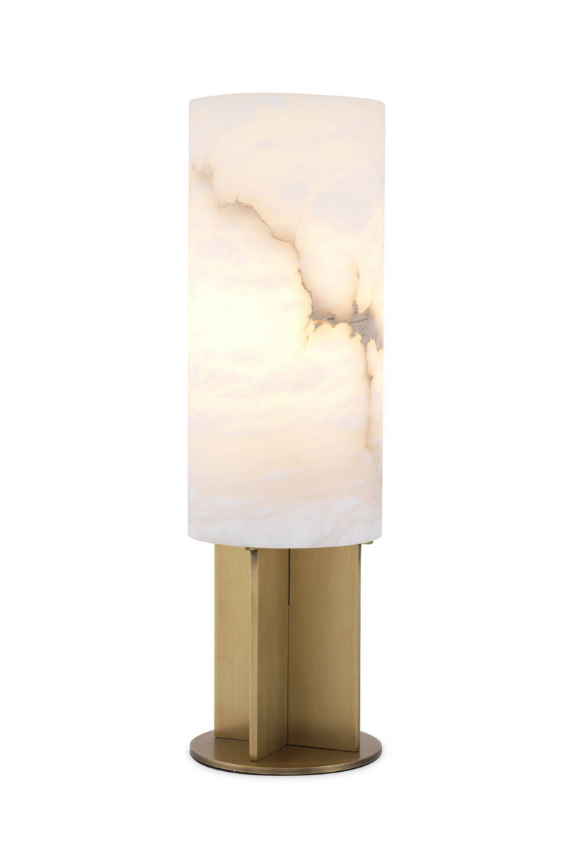 Round Brass Alabaster Table Lamp | Eichholtz |