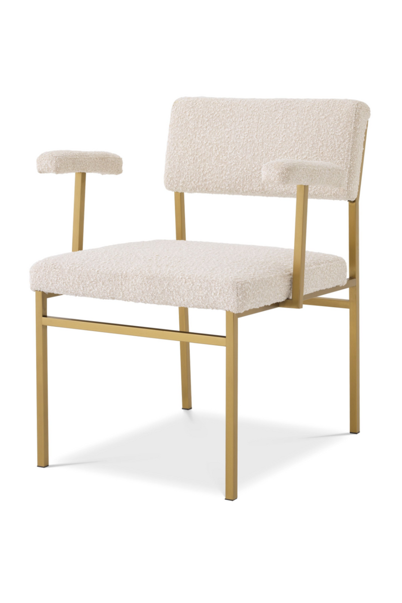 Bouclé Cream Messing Accent Chair - Eichholtz Dunmore